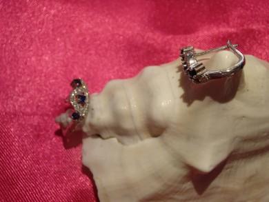 Сребърни обеци със сапфир и циркони