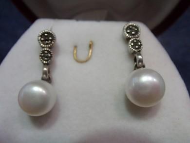 Сребърни обеци с  естественни перли и марказити
