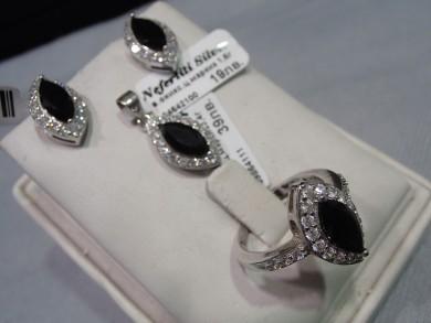 Сребърен комплект с оникс и циркони