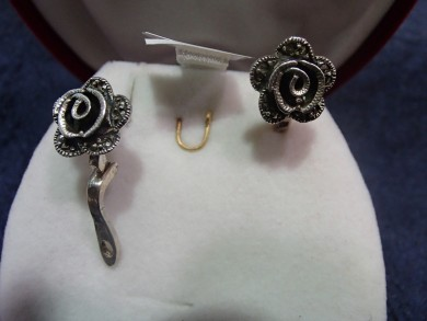 Сребърни обеци с марказити -рози