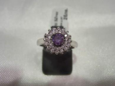 Сребърен пръстен с аметист и розови циркони