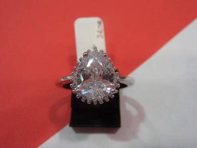 Сребърен пръстен с циркон и малки циркони