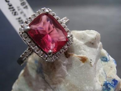 Сребърен пръстен с рубин и циркони
