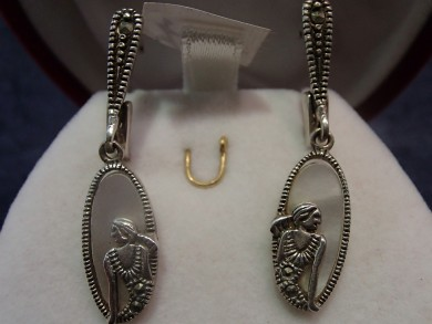 Сребърни обеци със седеф и марказити
