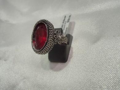 Сребърен пръстен с рубин филигран