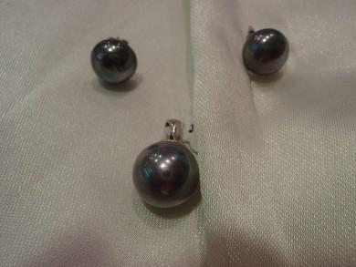 Сребърнен комплект с перли Сваровски