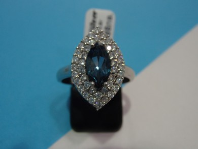 Сребърен пръстен с лондон топаз и циркони