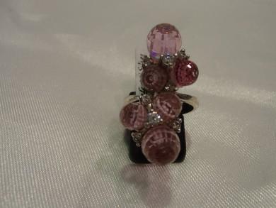 Сребърен пръстен с розови  циркони