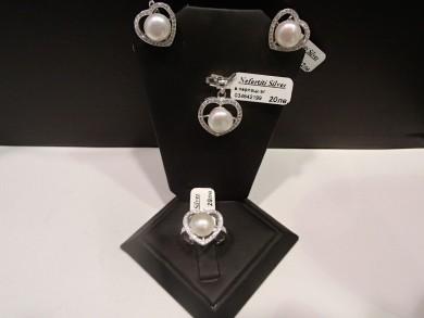 Сребърен комплект с естествени перли и циркони –сърца