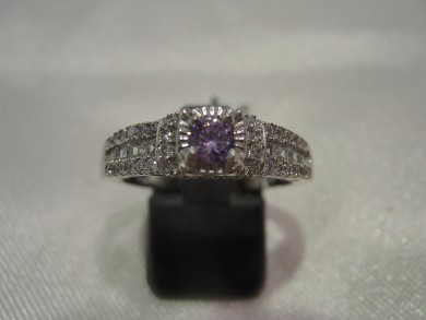 Сребърен пръстен с аметист и  с циркони