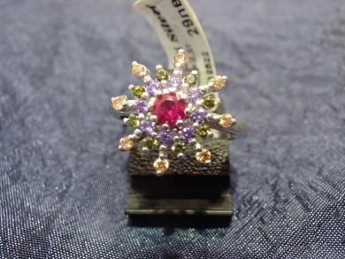 Сребърен пръстен с цитрин,рубин,аметист