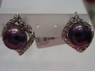 Сребърни обеци с перли и циркони