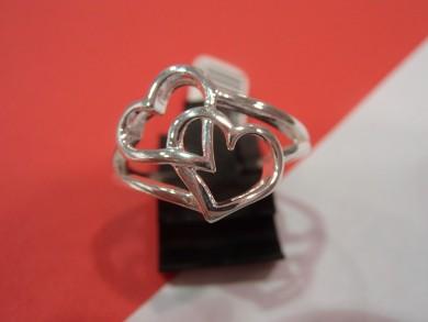 Сребърен пръстен без камъни сърца