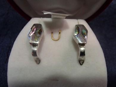 Сребърни обеци с кралски седеф