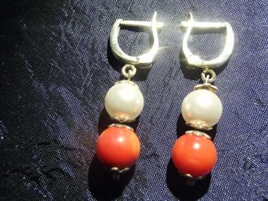 Сребърни обеци с перли и корал