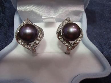 Сребърни обеци с черни перли циркони