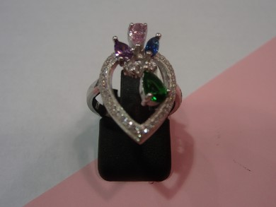Сребърен пръстен с изумруд сапфир,аметист и циркони