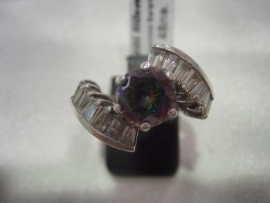 Сребърен пръстен с топаз мистик и циркон