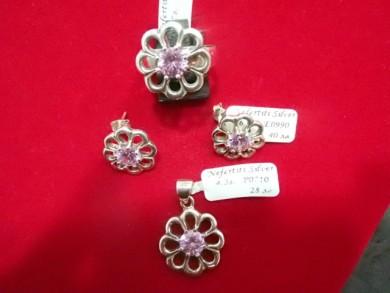 Сребърен комплект с розов циркон