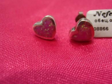Сребърен обеци с розов опал