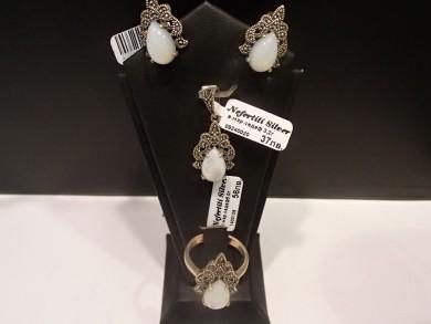 Сребърен комплект със седеф и марказити