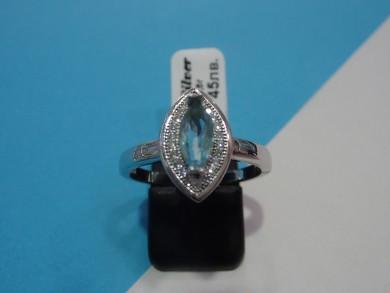 сребърен пръстен с топаз и циркони