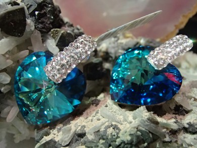 Сребърни обеци с кристали сваровски и инкрустация