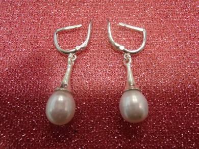 Сребърни обеци с Висококачественн естественни перли