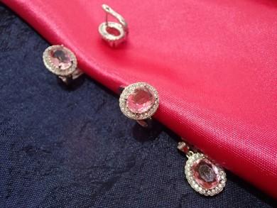 Сребърен комплект с розов циркон и циркони