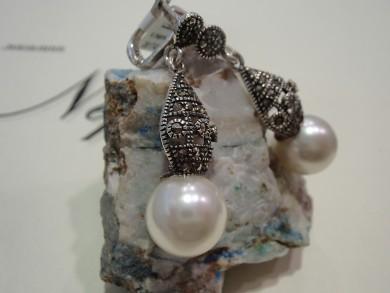 Сребърен комплект с перли и марказити