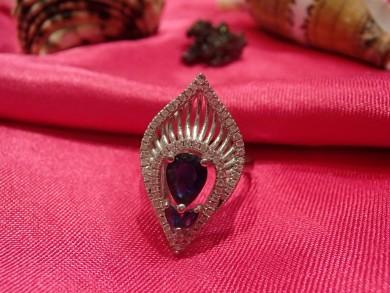 Сребърен пръстен със сапфир и циркони