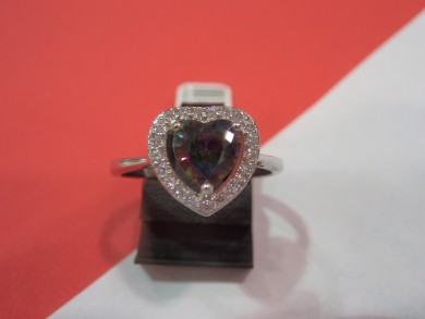 Сребърен пръстен с  топаз мистик  и циркони