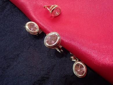 Сребърен комплект с розови циркони