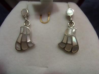 Сребърни обеци със седеф