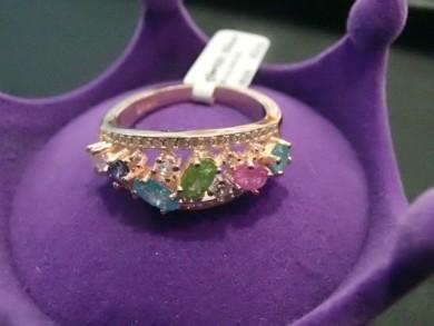Сребърен пръстен с цветни камъни и  циркони