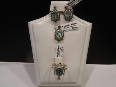 Сребърен комплект с кралски седеф и марказити –костенурка