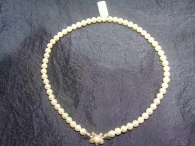 Сребърна огърлица с естественни перли и циркони