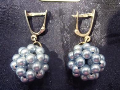 Сребърни обеци с перли майорка